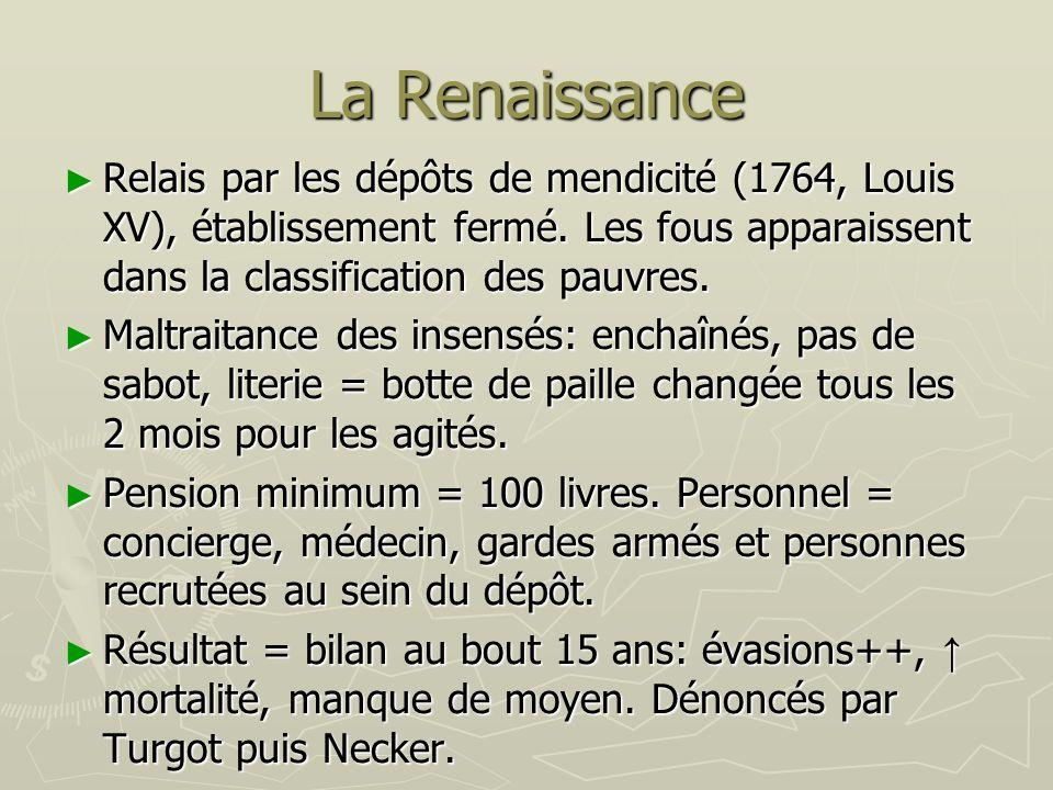 La Renaissance Relais par les dépôts de mendicité (1764, Louis XV), établissement fermé. Les fous apparaissent dans la classification des pauvres.