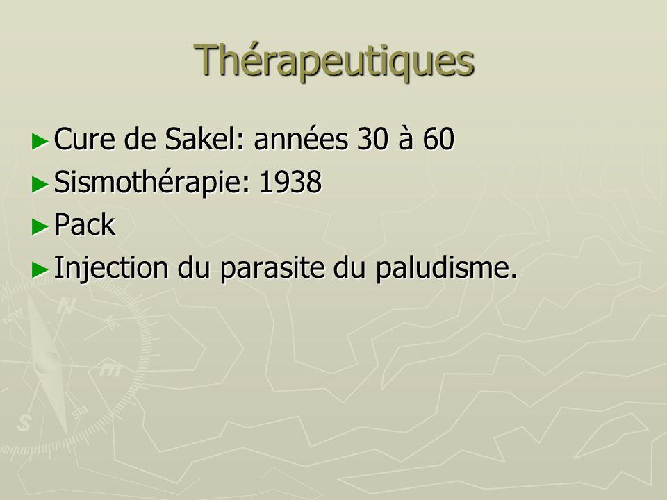 Thérapeutiques Cure de Sakel: années 30 à 60 Sismothérapie: 1938 Pack
