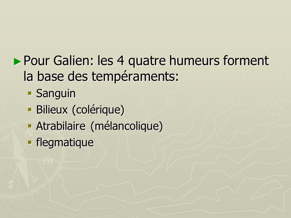 Pour Galien: les 4 quatre humeurs forment la base des tempéraments:
