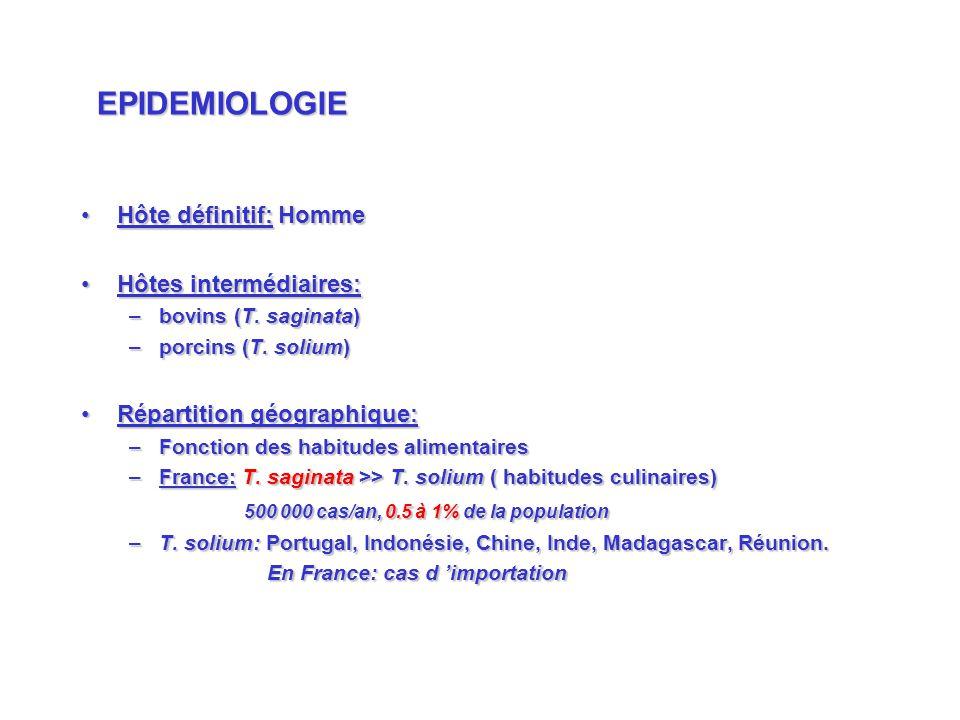 EPIDEMIOLOGIE Hôte définitif: Homme Hôtes intermédiaires: