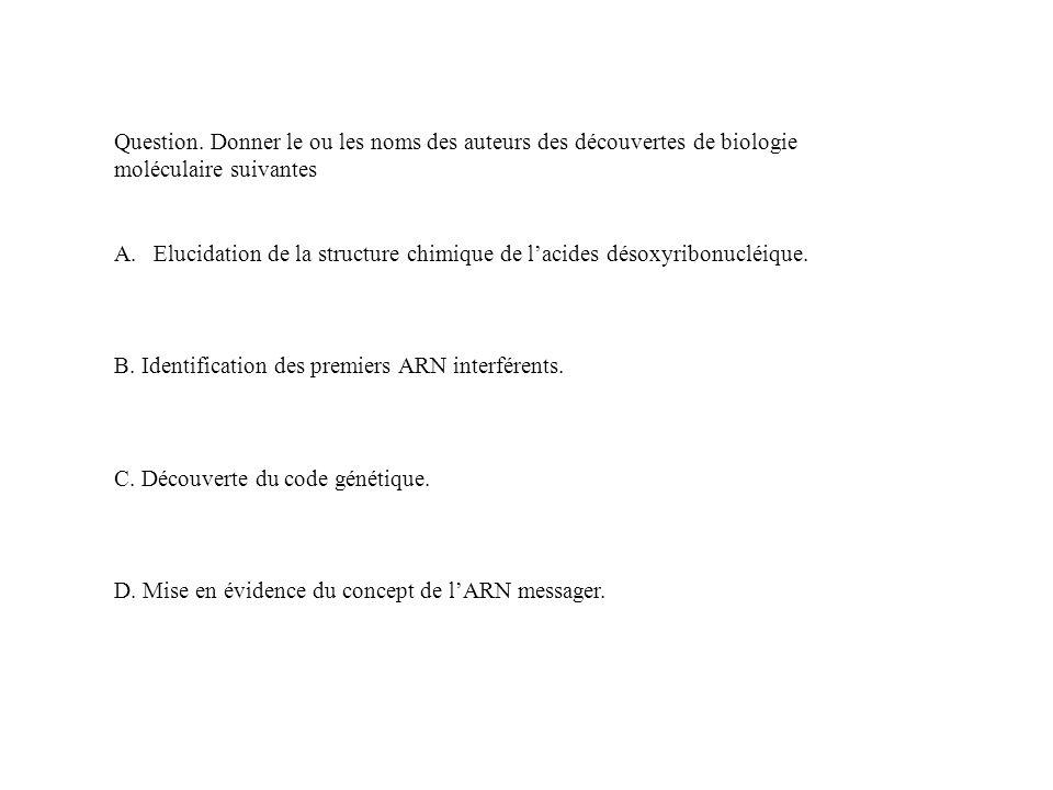 Question. Donner le ou les noms des auteurs des découvertes de biologie moléculaire suivantes