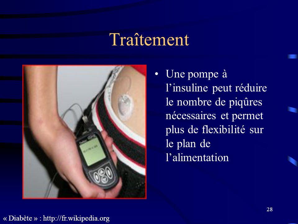 Traîtement Une pompe à l'insuline peut réduire le nombre de piqûres nécessaires et permet plus de flexibilité sur le plan de l'alimentation.