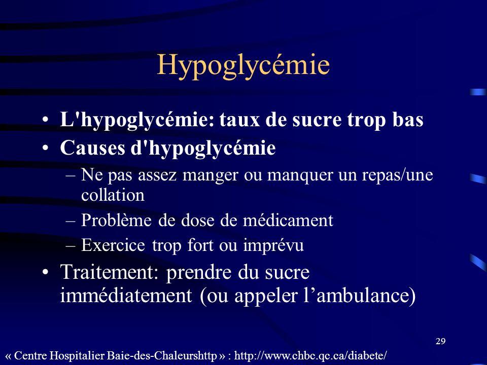 Hypoglycémie L hypoglycémie: taux de sucre trop bas