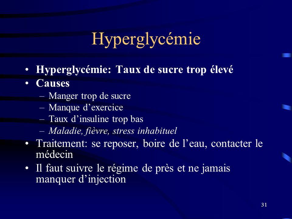 Hyperglycémie Hyperglycémie: Taux de sucre trop élevé Causes