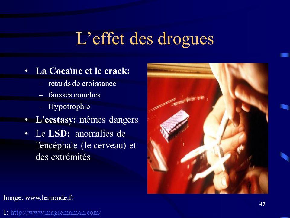 L'effet des drogues La Cocaïne et le crack: L ecstasy: mêmes dangers