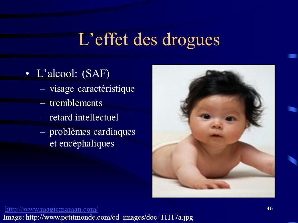 L'effet des drogues L'alcool: (SAF) visage caractéristique