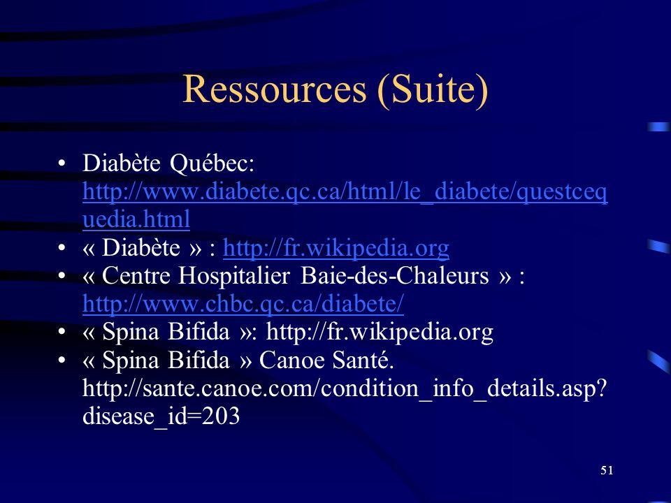 Ressources (Suite) Diabète Québec: http://www.diabete.qc.ca/html/le_diabete/questcequedia.html. « Diabète » : http://fr.wikipedia.org.
