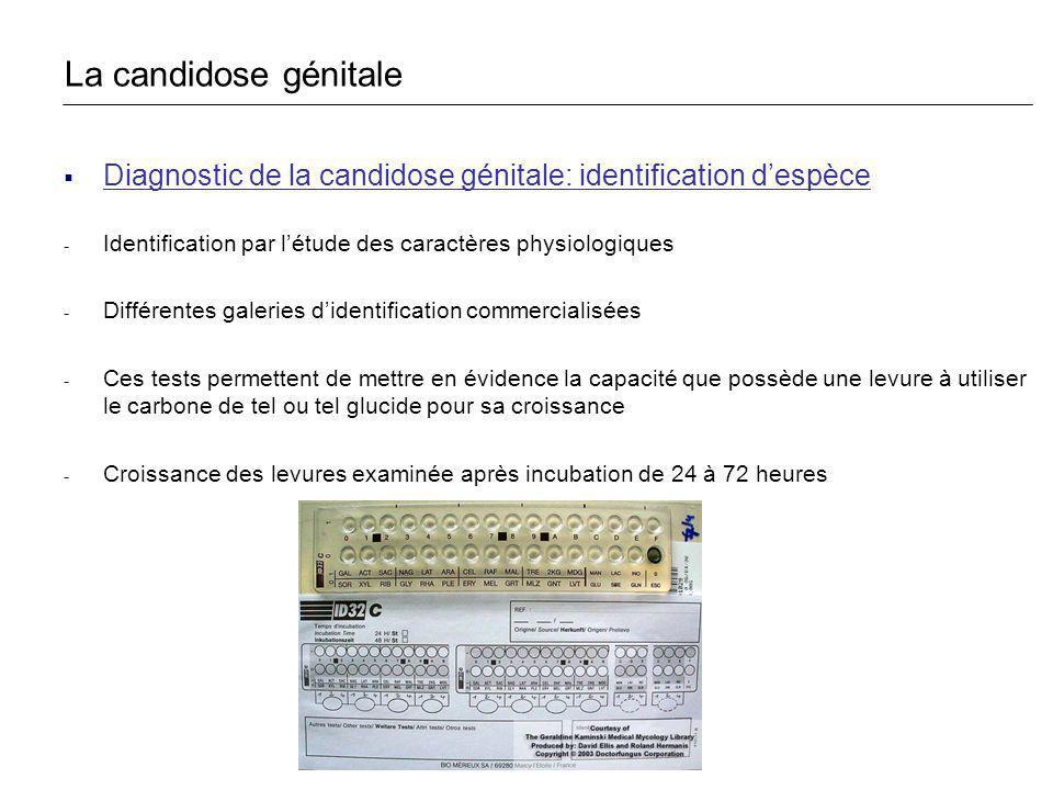 La candidose génitale Diagnostic de la candidose génitale: identification d'espèce. Identification par l'étude des caractères physiologiques.