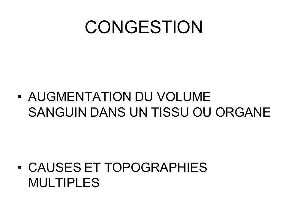 CONGESTION AUGMENTATION DU VOLUME SANGUIN DANS UN TISSU OU ORGANE