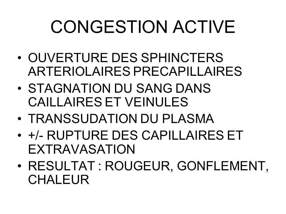 CONGESTION ACTIVE OUVERTURE DES SPHINCTERS ARTERIOLAIRES PRECAPILLAIRES. STAGNATION DU SANG DANS CAILLAIRES ET VEINULES.