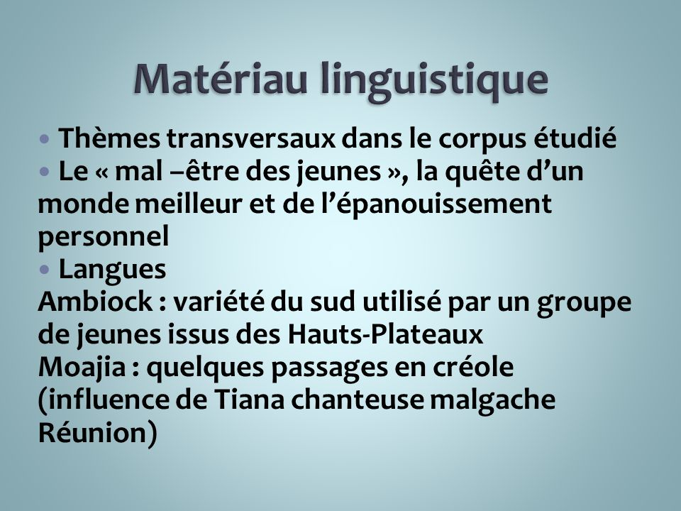 Matériau linguistique