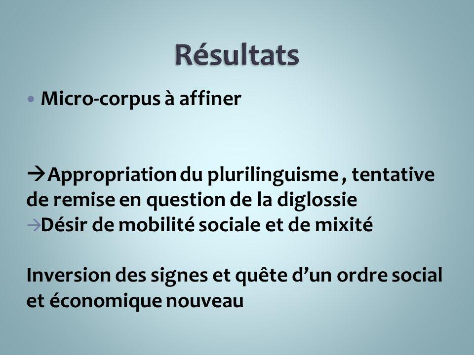 Résultats Micro-corpus à affiner