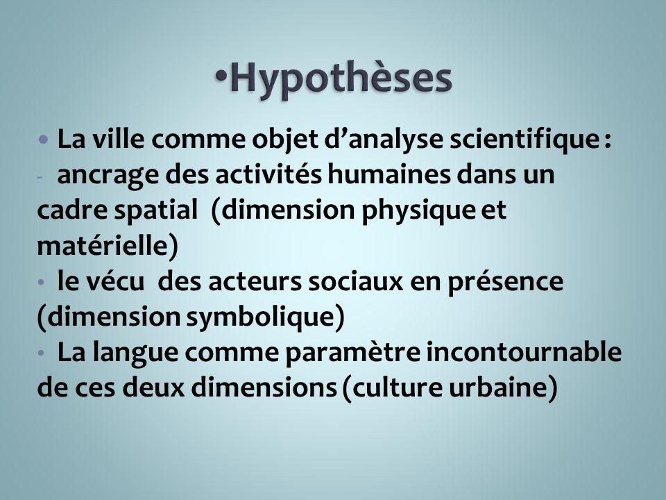 Hypothèses La ville comme objet d'analyse scientifique :