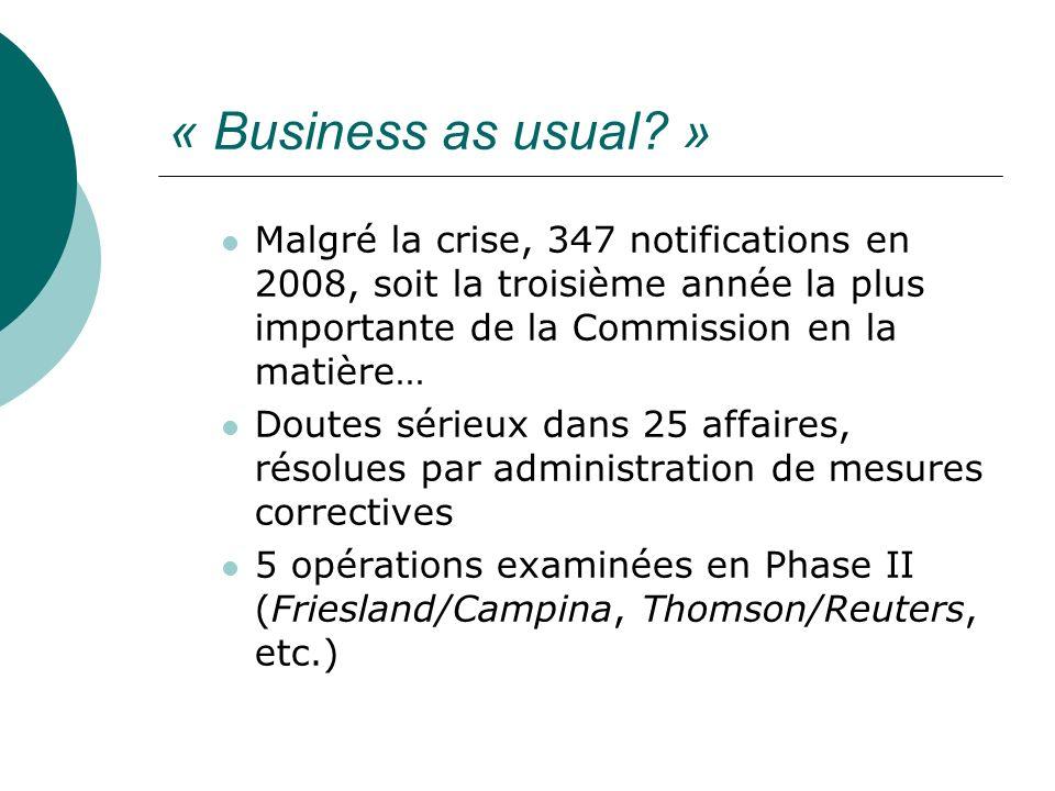 « Business as usual » Malgré la crise, 347 notifications en 2008, soit la troisième année la plus importante de la Commission en la matière…