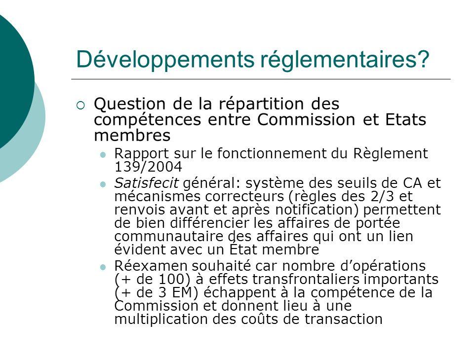 Développements réglementaires