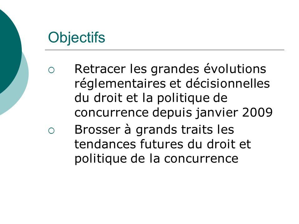 ObjectifsRetracer les grandes évolutions réglementaires et décisionnelles du droit et la politique de concurrence depuis janvier 2009.