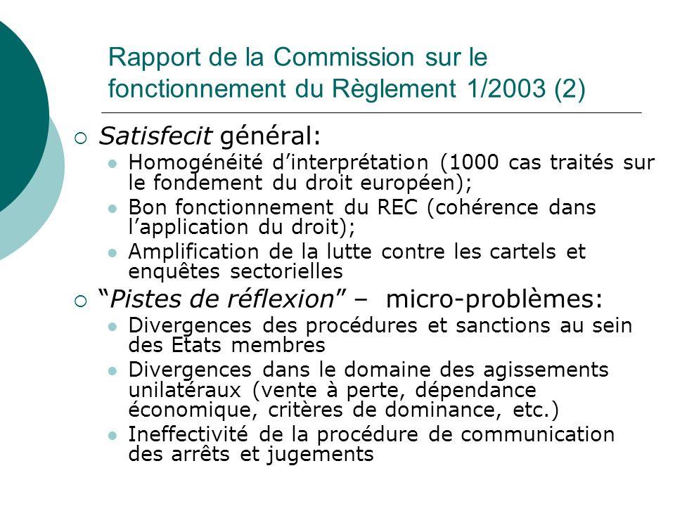 Rapport de la Commission sur le fonctionnement du Règlement 1/2003 (2)