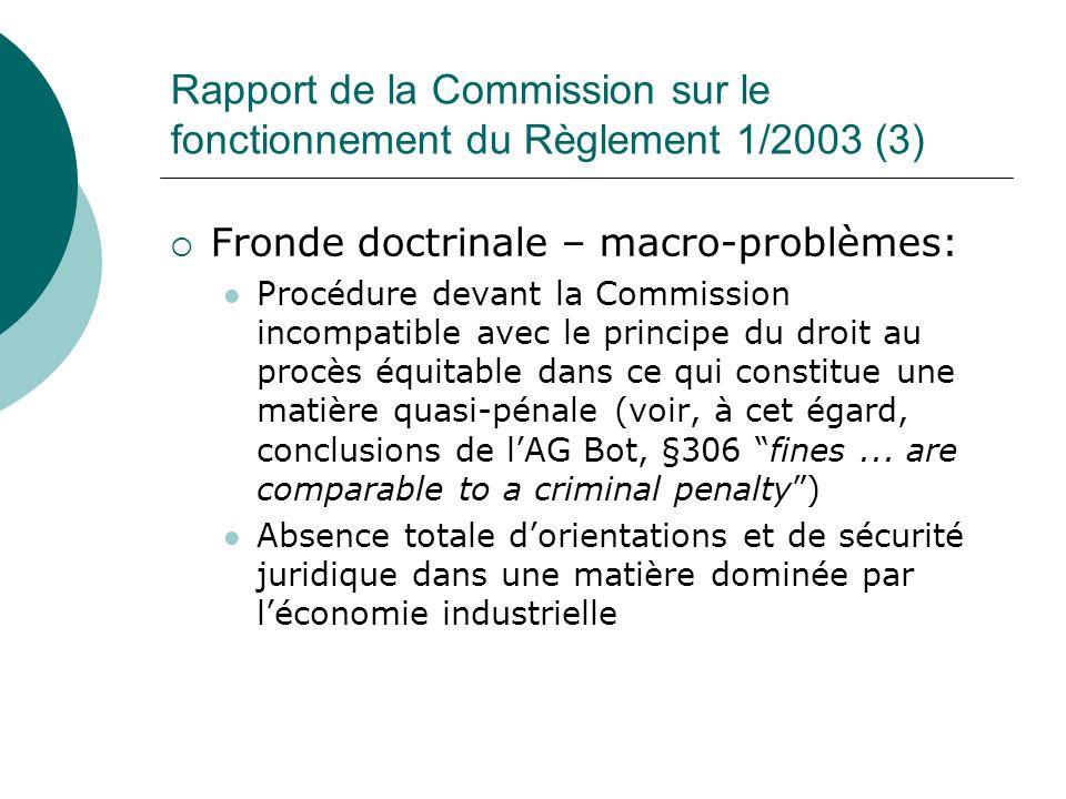 Rapport de la Commission sur le fonctionnement du Règlement 1/2003 (3)