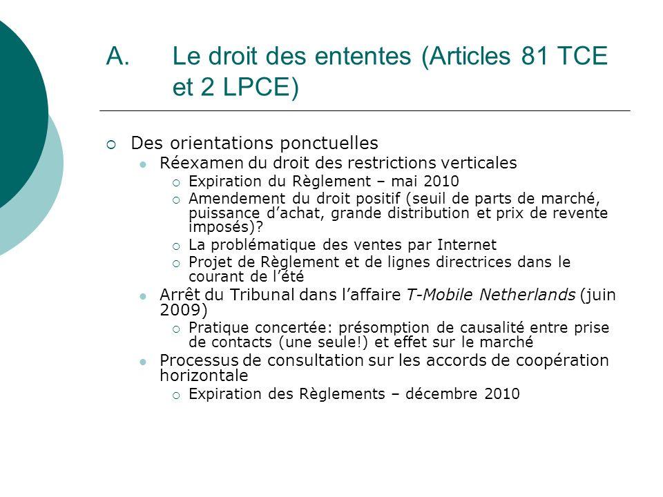 A. Le droit des ententes (Articles 81 TCE et 2 LPCE)