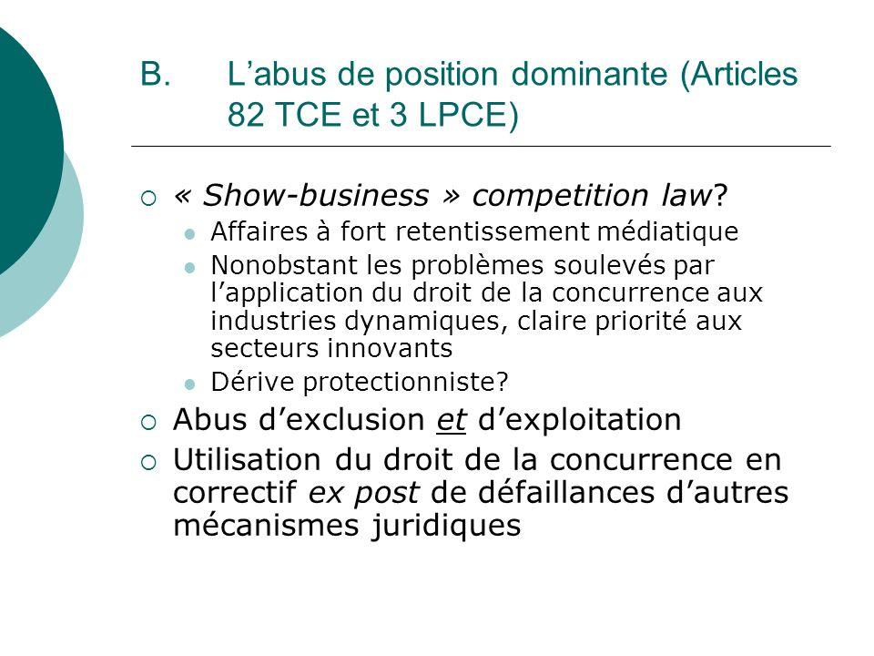 B. L'abus de position dominante (Articles 82 TCE et 3 LPCE)