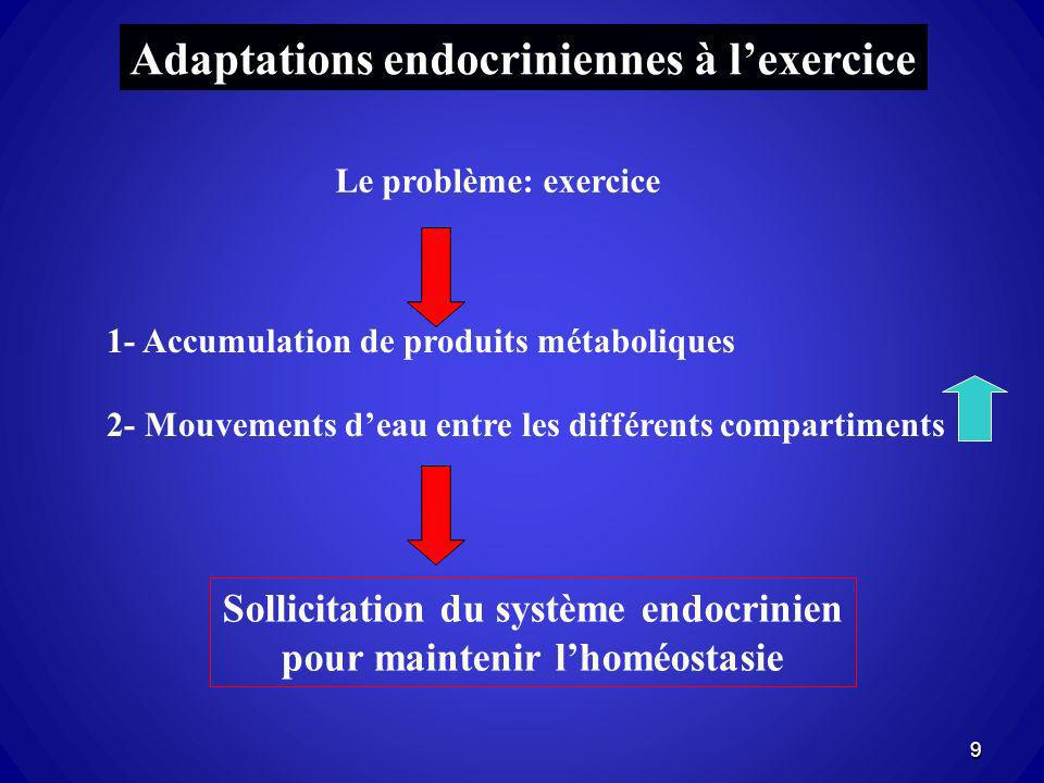 Sollicitation du système endocrinien pour maintenir l'homéostasie