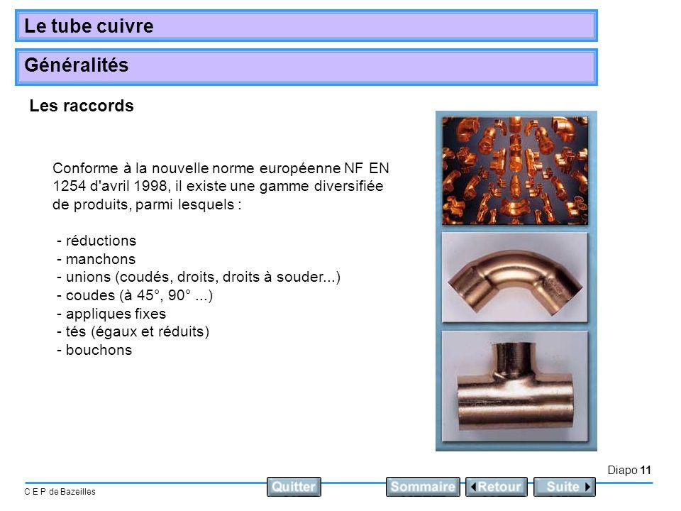 Les raccords Conforme à la nouvelle norme européenne NF EN 1254 d avril 1998, il existe une gamme diversifiée de produits, parmi lesquels :