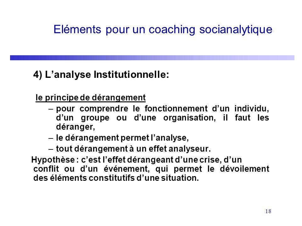 Eléments pour un coaching socianalytique
