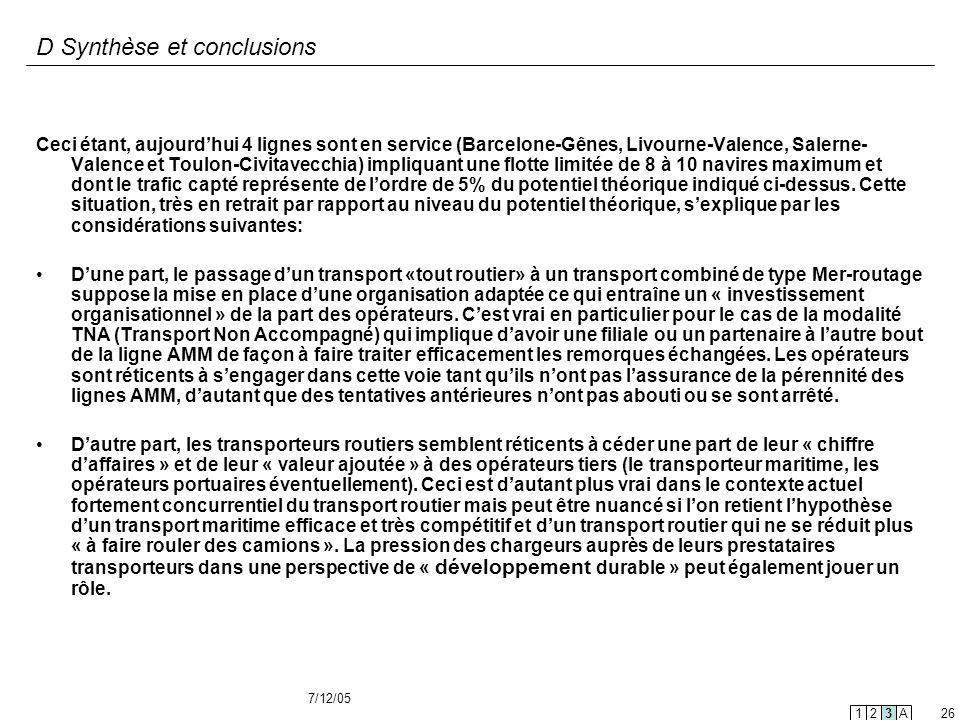 D Synthèse et conclusions