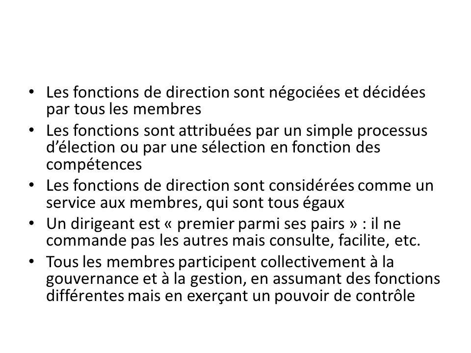 Les fonctions de direction sont négociées et décidées par tous les membres