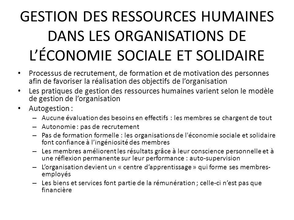 GESTION DES RESSOURCES HUMAINES DANS LES ORGANISATIONS DE L'ÉCONOMIE SOCIALE ET SOLIDAIRE