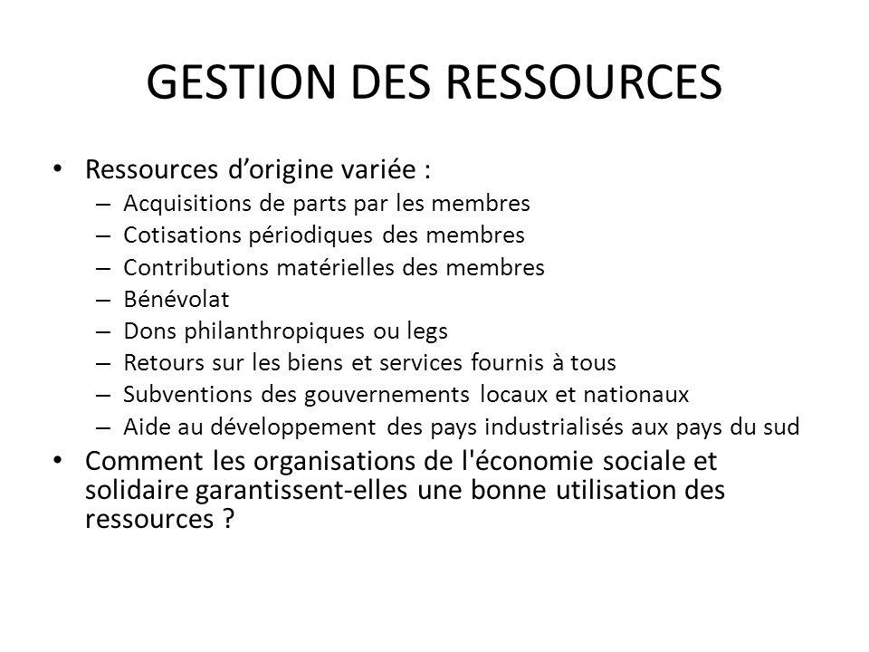GESTION DES RESSOURCES