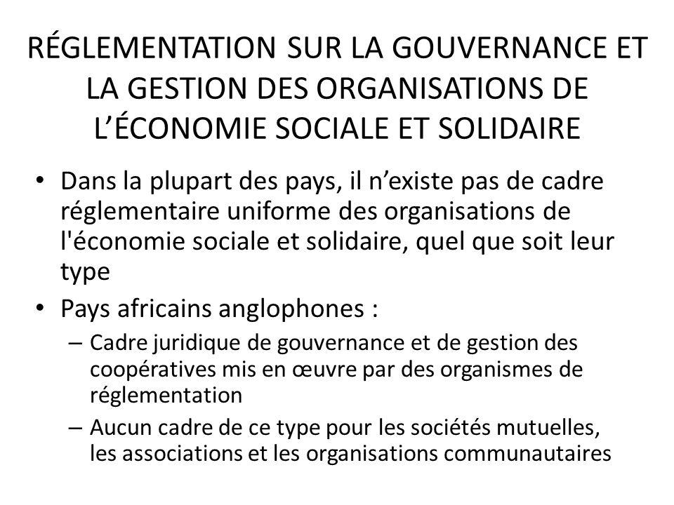 RÉGLEMENTATION SUR LA GOUVERNANCE ET LA GESTION DES ORGANISATIONS DE L'ÉCONOMIE SOCIALE ET SOLIDAIRE