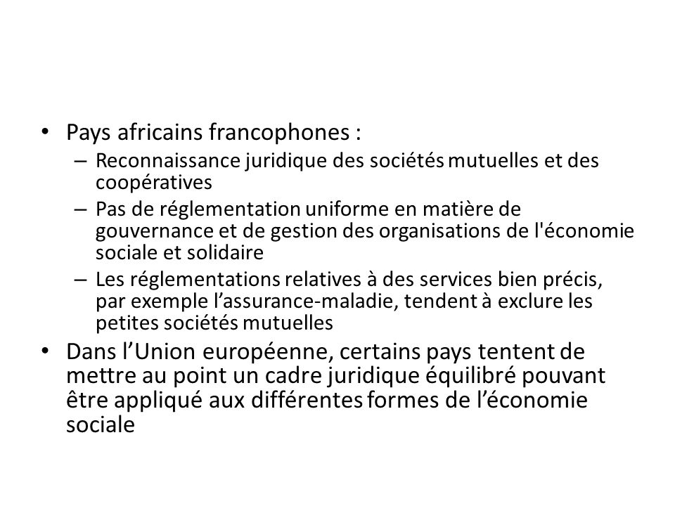 Pays africains francophones :