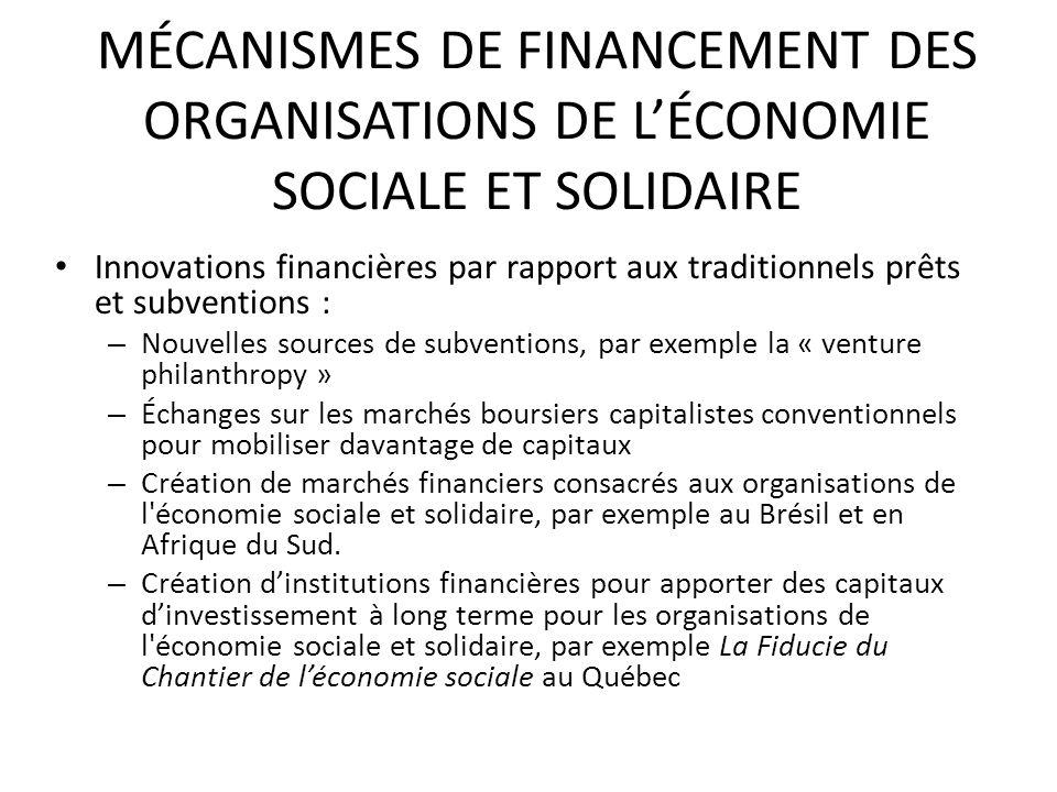 MÉCANISMES DE FINANCEMENT DES ORGANISATIONS DE L'ÉCONOMIE SOCIALE ET SOLIDAIRE
