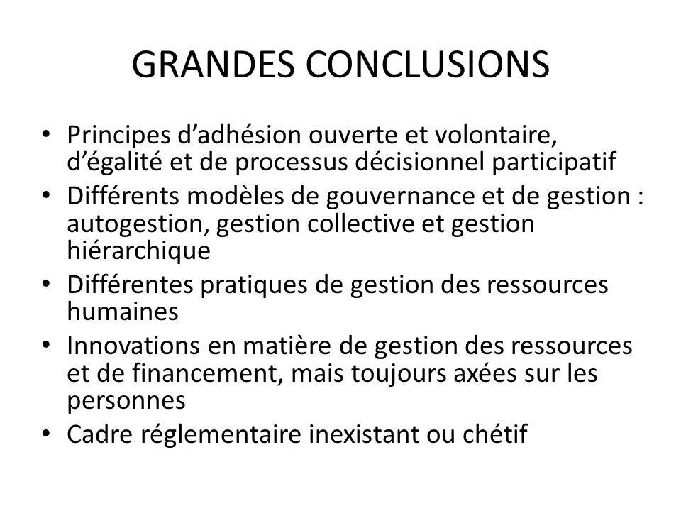 GRANDES CONCLUSIONS Principes d'adhésion ouverte et volontaire, d'égalité et de processus décisionnel participatif.