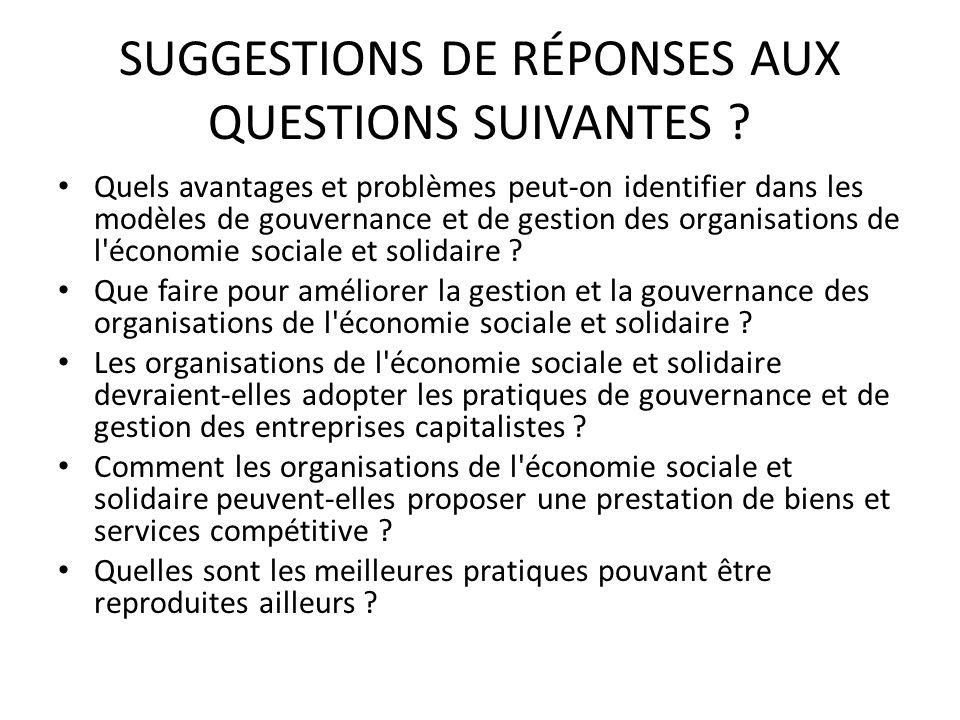 SUGGESTIONS DE RÉPONSES AUX QUESTIONS SUIVANTES