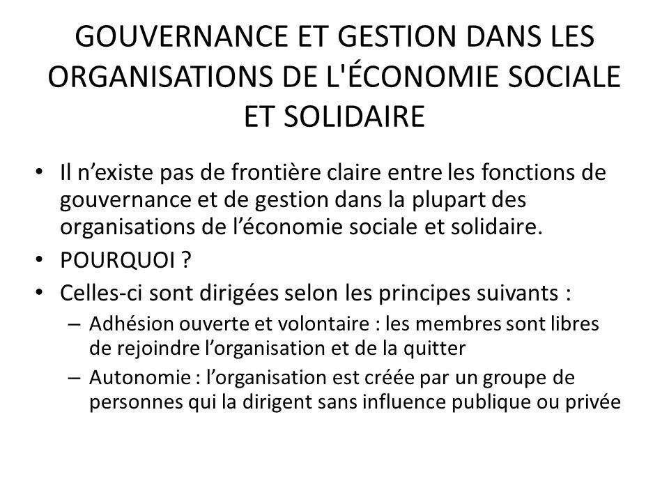 GOUVERNANCE ET GESTION DANS LES ORGANISATIONS DE L ÉCONOMIE SOCIALE ET SOLIDAIRE