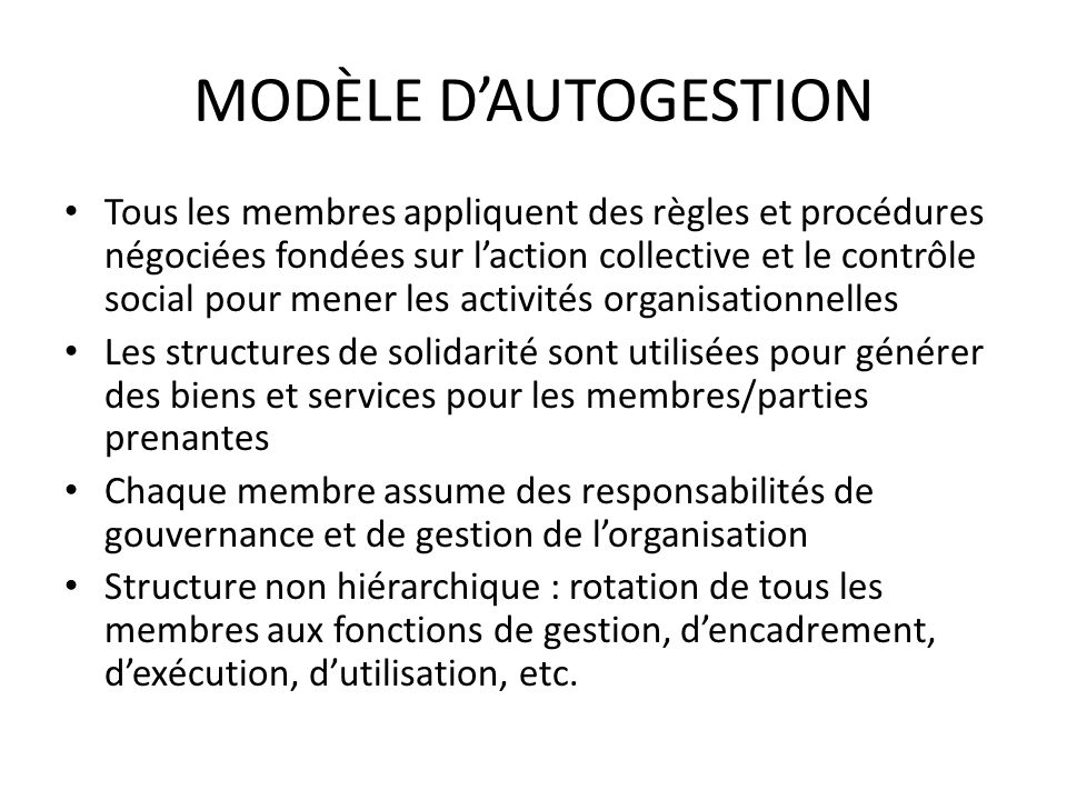 MODÈLE D'AUTOGESTION