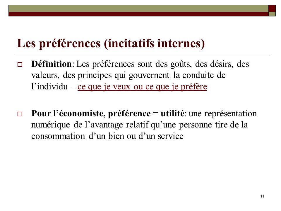 Les préférences (incitatifs internes)