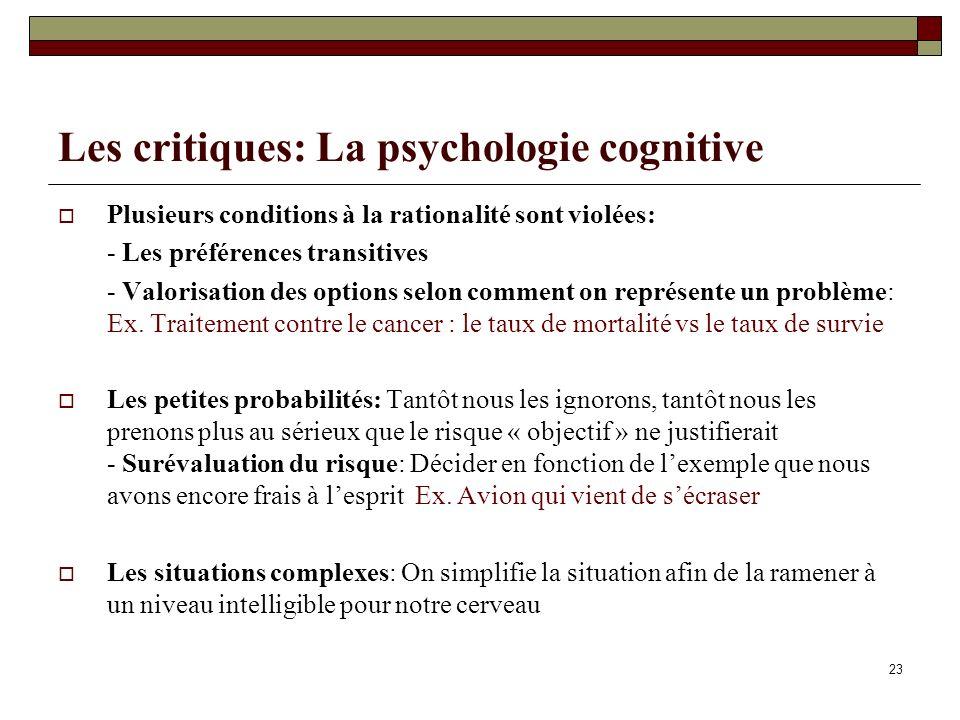 Les critiques: La psychologie cognitive