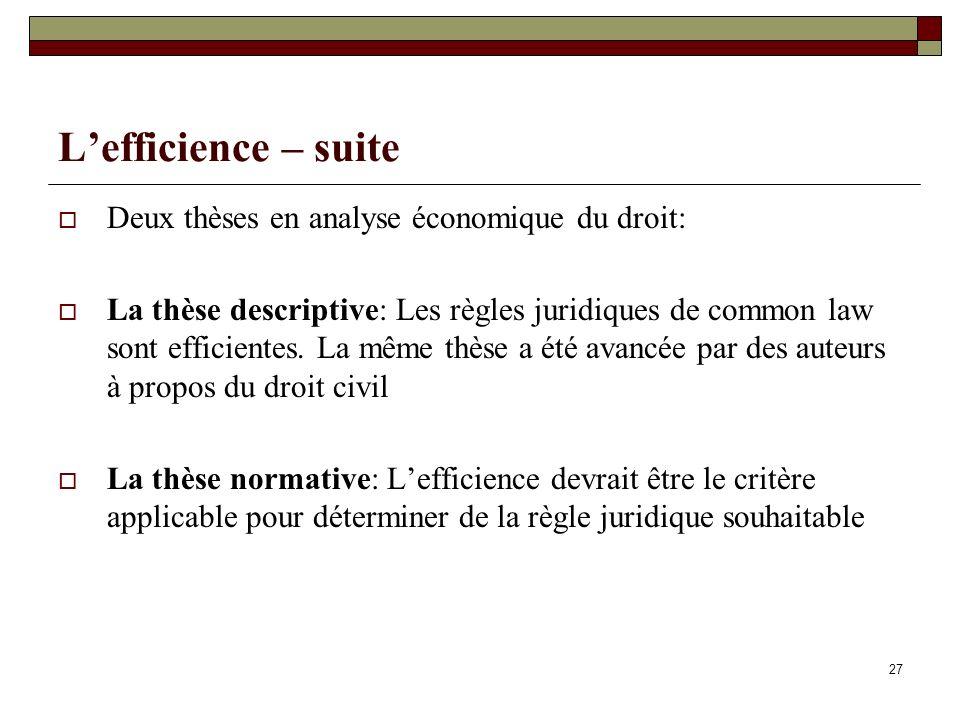 L'efficience – suite Deux thèses en analyse économique du droit:
