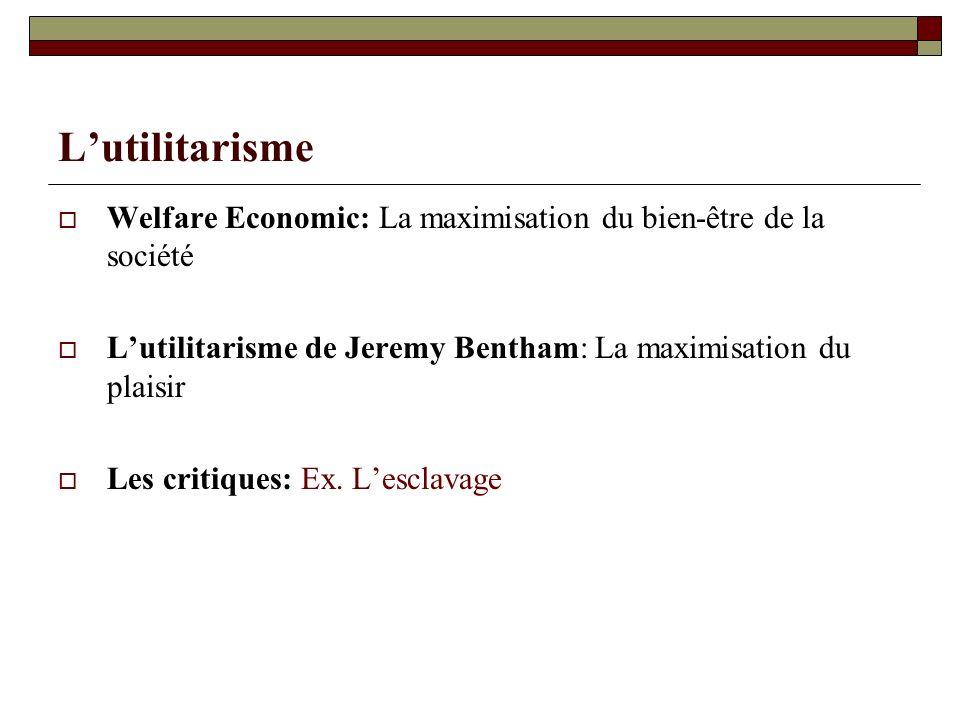 L'utilitarisme Welfare Economic: La maximisation du bien-être de la société. L'utilitarisme de Jeremy Bentham: La maximisation du plaisir.