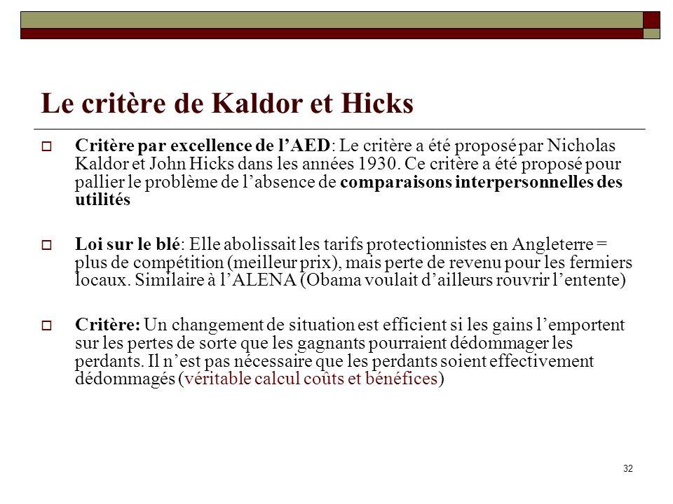Le critère de Kaldor et Hicks