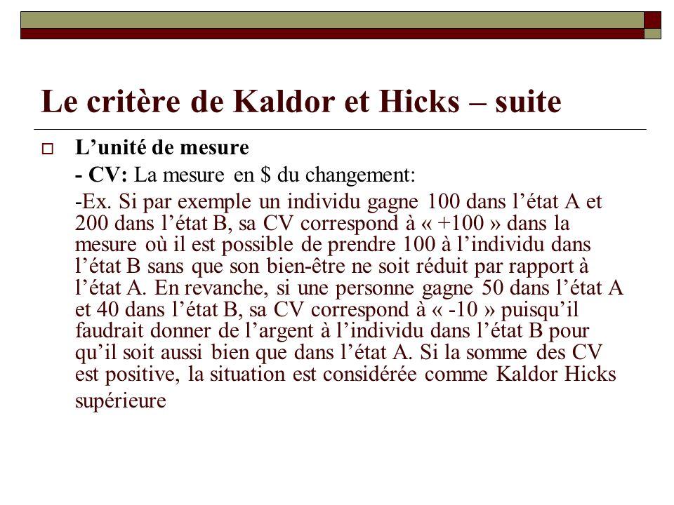 Le critère de Kaldor et Hicks – suite