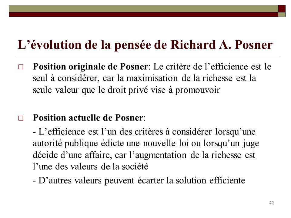 L'évolution de la pensée de Richard A. Posner