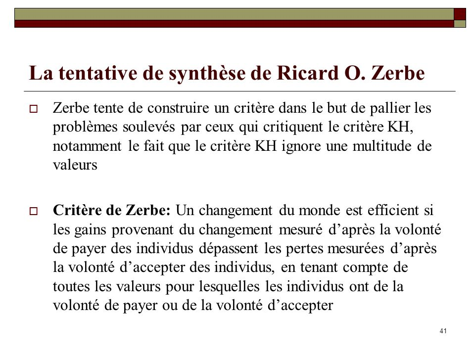 La tentative de synthèse de Ricard O. Zerbe