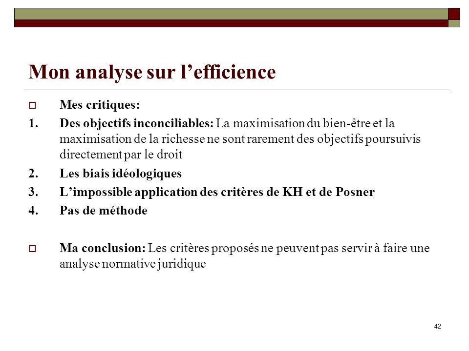 Mon analyse sur l'efficience