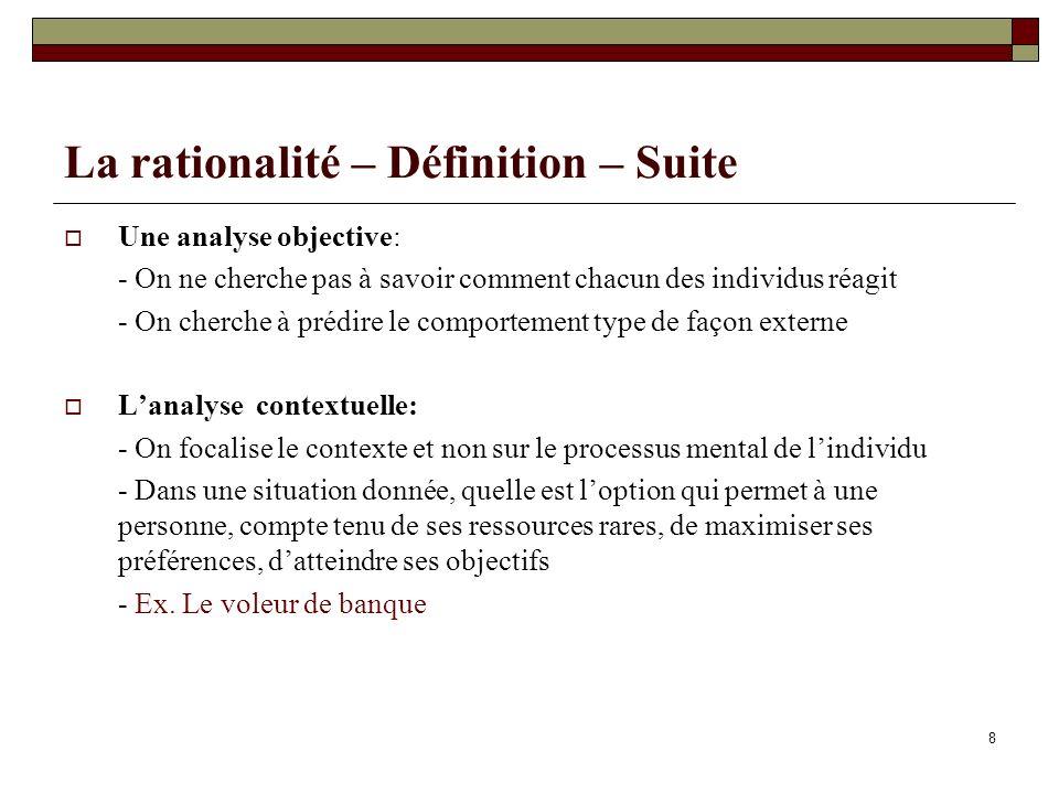 La rationalité – Définition – Suite