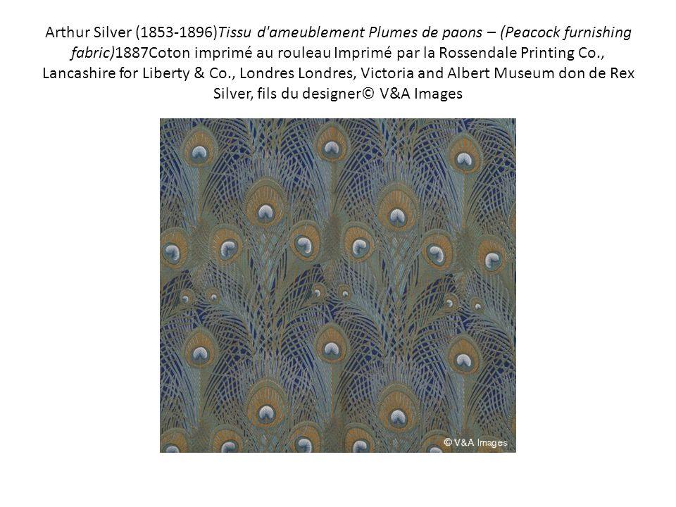 Arthur Silver (1853-1896)Tissu d ameublement Plumes de paons – (Peacock furnishing fabric)1887Coton imprimé au rouleau Imprimé par la Rossendale Printing Co., Lancashire for Liberty & Co., Londres Londres, Victoria and Albert Museum don de Rex Silver, fils du designer© V&A Images