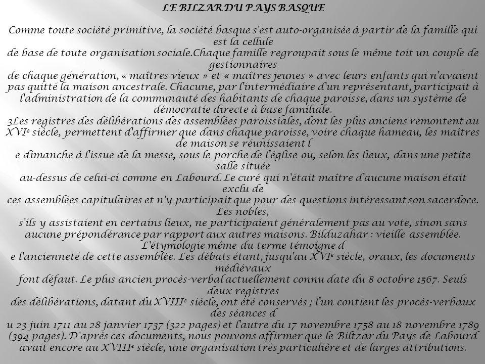LE BILZAR DU PAYS BASQUE
